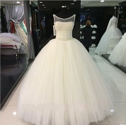 Wholesale Sexy Ball Gowns Sheer - Vintage Wedding Dresses Cheap Bridal Gowns Illusion Neck Floor Length Real Pictures Spring Princess Ball Gown Wedding Dress