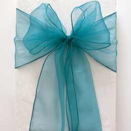 Wholesale Wedding Table Fabric Samples - 100pcs lot Teal Blue Organza Chair Sashes Bluish-green Crystal Table Sample Fabric wedding Bow Gift Party SASH
