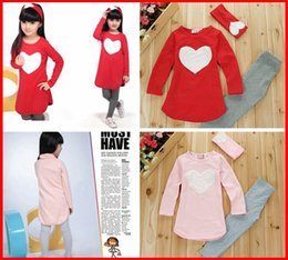 Wholesale Tight T Shirt Dresses - 2015 New girls Love Heart 3Pcs hairband set baby girl long sleeve T Shirt + girls tights legging + headband baby autumn clothing dress set