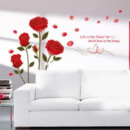 Wholesale Sticker Plastic Flower - New Removable Red Rose Life Is The Flower Quote Wall Sticker Mural Decal Home Room Art Decor DIY Romantic Delightful