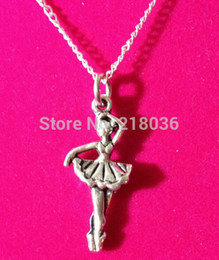 Wholesale Dancers Necklaces - Fashion 10PCS Vintage Silvers Ballet Dancer Charms Sweater Chain Choker Statement Necklaces Pendants Jewelry For Women Accessories L939