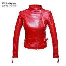 Wholesale Real Leather Coat Women - Wholesale-Women Genuine Leather Jackets New Autumen Winter Real leather coat Female Motorcycle Long Sleeve Red Black Coat Outerwear Sale