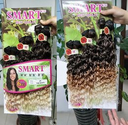 Wholesale Blonde Synthetic Weave - 6pcs pack 14-18inch Ombre Purple Jerry Curl Hair Ombre Blond Color Synthetic fiber Deep Wave hair weft of sew in weaving hair