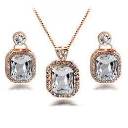 Wholesale Womens Bridal Sets - Unique Earrings and Necklace Sets Luxury Crystal Bridal Necklace Sets for Wedding Vintage Womens Designer Jewelry 1120