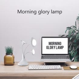 Wholesale Flower Polish - Art Flower Touch Desk Lamp 2017 new Office Table Lighting Eye Protection Desk Lamps 3 Flower Morning Glory Recharging LED Light