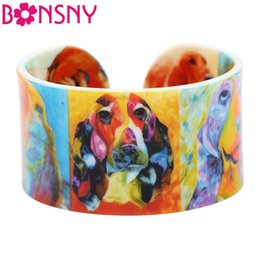 Wholesale Jewelry For Dog Lovers - Bonsny Acrylic Wide Love Basset Hound Bangle Bracelets For Women New Fashion Accessories Animal Jewelry Dog Lover Gift