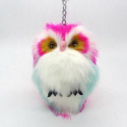 Wholesale Owl Key Pendant - 15CM Cute Fluffy Owl Keychain & Pendant Women Key Ring Holder Faux Bunny Rabbit Fur Pompoms Key Chains For Handbag Plush Keyring