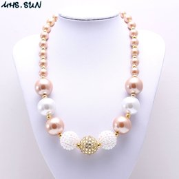 Wholesale White Acrylic Necklace - MHS.SUN White+Gold Color Kid Chunky Necklace Newest Arrivel Fashion Bubblegume Bead Chunky Necklace Jewelry For Baby Kid Girl