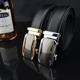 Wholesale Man Cow Leather Belt - HOT Fashion MEN's Genuine Leather Waist Strap Belts Automatic Metal Buckle Gold Silver Cow Leather Luxury Man's belt ceinture