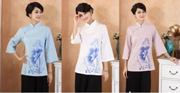 Wholesale Chinese Fashion Qipao - Shanghai Story Chinese Style Cheongsam Top lotus print Women Vintage Shirt Ladies Tang Suit Top Linen Blouse 3 color Qipao Shirt