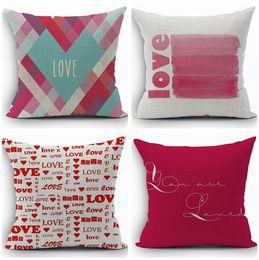 Wholesale Decor Couple - love cushion cover heart throw pillow case for valentine present 45cm couple home decor cotton linen almofadas