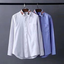 Wholesale Uniform Square - 2017 men's shirts collars embroidered snakes fashion casual shirts men's and women's uniform style Luxury brand new