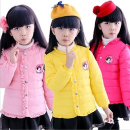 Wholesale Boy Down Liner - Wholesale-Free shipping 2015 new girls down jacket girl clothing liner cartoon girl princess lace cotton coat High quality girl down coats