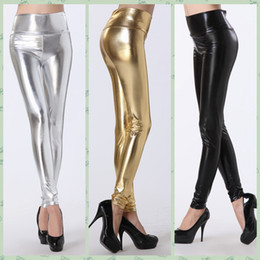 Wholesale Leggins Pants Leather - Women New Fashion Sexy Silver Gold Black Shiny Metallic Leather High Waist Leggings Skinny Stretch Pants Wetlook Faux Leather Leggins E79126