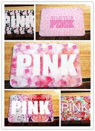 Wholesale Outdoor Rug Black - 5 colors rose Pink love Black and White Polyester doormat Indoor Outdoor bath shower Doormat Mat Rug Carpet christmas gift