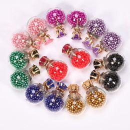 Wholesale Jewelry Crown Price - bestselling fashion Korean Glass Ball hourglass stud earrings for women imitation Diamond glass crown earrings women Jewelry factory price