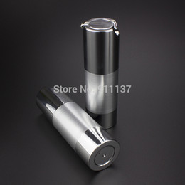 Wholesale Bottle Pump For Cosmetic Packaging - ZA213 sliver 30ml airless pump packaging for cosmetic , pp 30 ml bottle with pump , plastic round 30ML bottle with dispenser