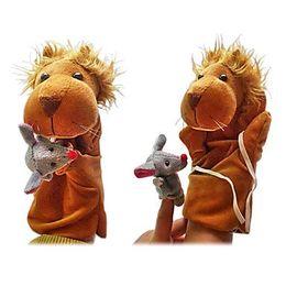 Wholesale Lion Plush - Plush Puppets: The Lion and The Mouse Finger Puppets Kids Talk Prop Preschool Kindergarten Velour Animal Finger Puppets Kids Toy