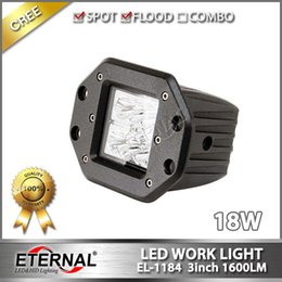 Wholesale Mounting Led Light Motorcycle - pair Hot 18W powersports motorcycle Automotive ATV UVT offroad Jeep truck vehicles LED work light with flush mount spot flood beam