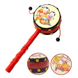 Wholesale Wholesale Children Rattle Drum - Wholesale- Baby Toys 0-12 Months Plastic Drum-shaped Rattle Children Baby Newborn Musical Educational Toys Baby Rattle