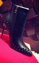 Wholesale Womens Spiked Heels - 2018 Paris Womens Design Spike Studded High Heel Red Bottom Boots Pointy Genuine Leather Ankle Boots Luxury Winter Shoes 35-41