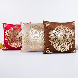 Wholesale Luxury Pillow Cases - Cushion Cover Floral Gold Velvet Luxury Pillow Case for Sofa Bed Vintage Pillow Covers Soft Home Decor 18*18