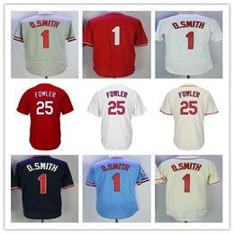 Wholesale Men Dexter - Men's St. Louis 25 Dexter Fowler 1 Ozzie Smith baseball Jersey color white cream grey red free shipping