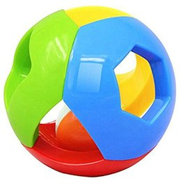 Wholesale Funny Baby Rattles - Wholesale- 1pc Colorful Rattle Bell Ball Baby Toy Fun Jingle Ball Develop Infant Intelligence Move On The Bed Funny Toys For Kids