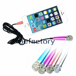 Wholesale Ipad Mini Small - Mini Small Metal Microphone For iPhone 6 6s plus Samsung android Mobile Laptop ipad mini air pro Multimedia 3.5MM XMAS gift