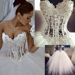 Wholesale Sweetheart Luxury Crystal Short Dress - Luxury Wedding Dresses 2015 With Lace Pearl Beads Unique Arabic Bridal Gowns Sweetheart Neck Zip Back White Tulle Princess Wedding Gowns