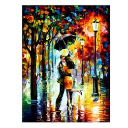 Wholesale Dancing Pictured Canvas - HOT Sale Dance Under The Rain-PALETTE KNIFE Figure By Artists Home Decorative Art Picture Printed On Canvas
