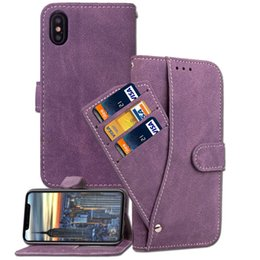 Wholesale scrub phone covers - New Arrival For iphone X 8 Plus Scrub leather Case Rotate Card Slots Frame Flip Wallet Cover Stand Holder Phone Case for iphone 7 6s plus