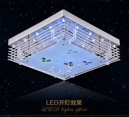 Wholesale Led Ceiling Light Low Voltage - Wholesale-Modern living room lamp crystal lamp LED light LED colorful square glass ceiling lamps bedroom flat low voltage remote control