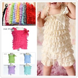Wholesale Multi Color Petti Rompers - 20pcs Petti Rompers Baby Lace Romper Girls Romper Baby Romper lace Ruffle Rompers Lace Dress Baby Outfit flower headband