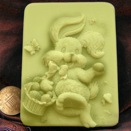 Wholesale Silicone Molds For Candles - Wholesale- EAST Easter Cake Mold Baking & Pastry Tools cooking tools for bakeware Easter Funny rabbit silicone mold soap candle molds gift