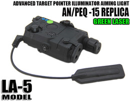 Wholesale Tactical Gun Light Green Laser - Tactical New Improved AN PEQ-15 Green Laser with LED Flashlight gun Light Illuminator For Hunting Black Dark Earth