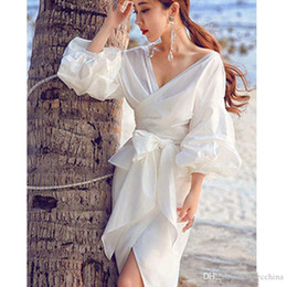 Wholesale Ladies White Ruffled Blouses - Fashion Women White Ruffles Blouse V-neck Ladies Tops Clothing Shirts with Bow Tie Plus Size Female Clothes 1pcs Free Shipping