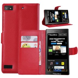 Wholesale Cell Phone Covers Blackberry - High Quality Luxury Stand Flip Folded Leather With Wallet Card Slots Cell Phone Cover Case For Blackberry Z3 PASSPORT Q30 Classic Q20