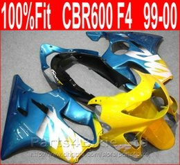 Wholesale Cbr Body Parts - Simple blue yellow body repair parts for Honda fairing CBR600 F4 99 00 CBR 600 F4 1999 2000 fairings kit CENP