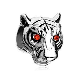 Wholesale Enamel Tiger - Silver Color Plating red crystal eye tiger Bead European Black Enamel Charm Fit Pandora Bracelet