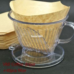 Wholesale Drip Cup - Free Shipping Hario Style V60 Coffee Brewer Drip Coffee filter cups with 40pcs filters