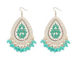 Wholesale Korean Wedding Fashion Design - Earrings For Women Fashion Jewelry Brand Design Vintage Korean Rose Gold Wedding Earrings Long Big Statement Jewelry Bohemian Green Earrings