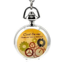 Wholesale Vintage Silver Pocket Watch Chain - Fashion design C'est ea vie White steel silver enamel Vintage unisex pendant Necklace chain pocket watch