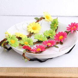 Wholesale Fabric Flowers Wholesale Price - Wholesale Price Headwear 10 Colors Summer Style Wedding or Women Party Accessories Girls Hair Accessories Flower Headband JIA318