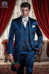 Wholesale Stylish Grooms Tuxedos - 2015 New Stylish Back Vent Blue Groom Tuxedos Stand Colar Embroidery Men's Wedding Dress Prom Clothing(Jacket+pants+Tie+Vest) AA05