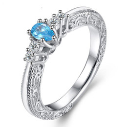 Wholesale Aquamarine Stone Jewelry - Simple Retro Jewelry Finger Ring choucong Brand Desgin 925 Sterling Silver Decorative pattern Pear Aquamarine Gemstones Zirconia Women Ring