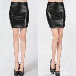 Wholesale Plus Size Faux Leather Skirts - East Knitting 2015 Q001 Fashion Women PU Faux Leather Skirt High Waist Bodycon Pencil Skirts Plus Size