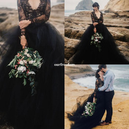 Wholesale Plus Size Long Skirts Cheap - 2018 Black Wedding Dresses Long Sleeve Sexy V Neck Cover Back Puffy Tulle A Line Bridal Gown Bohemian Beach Style Cheap Hot Sale