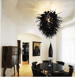 Lustres de cristal preto barato on-line-Cadeia de transporte de ar livre preto decorativo lustre de cristal de alta qualidade Murano luzes de teto de arte moderna barato