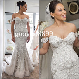 Wholesale Sexy Mermaid Wedding Gown Sweetheart - 2016 Steven Khalil Amazing Detail Beach Mermaid Wedding Dresses Dubai Arabic Off-shoulder Sweetheart Backless cheap Wedding Gown Plus Size